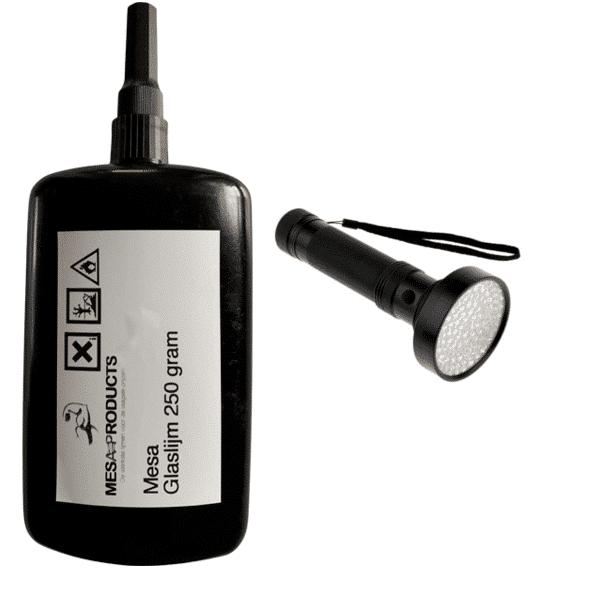 glalijm 250 gram met een 100 led's lamp